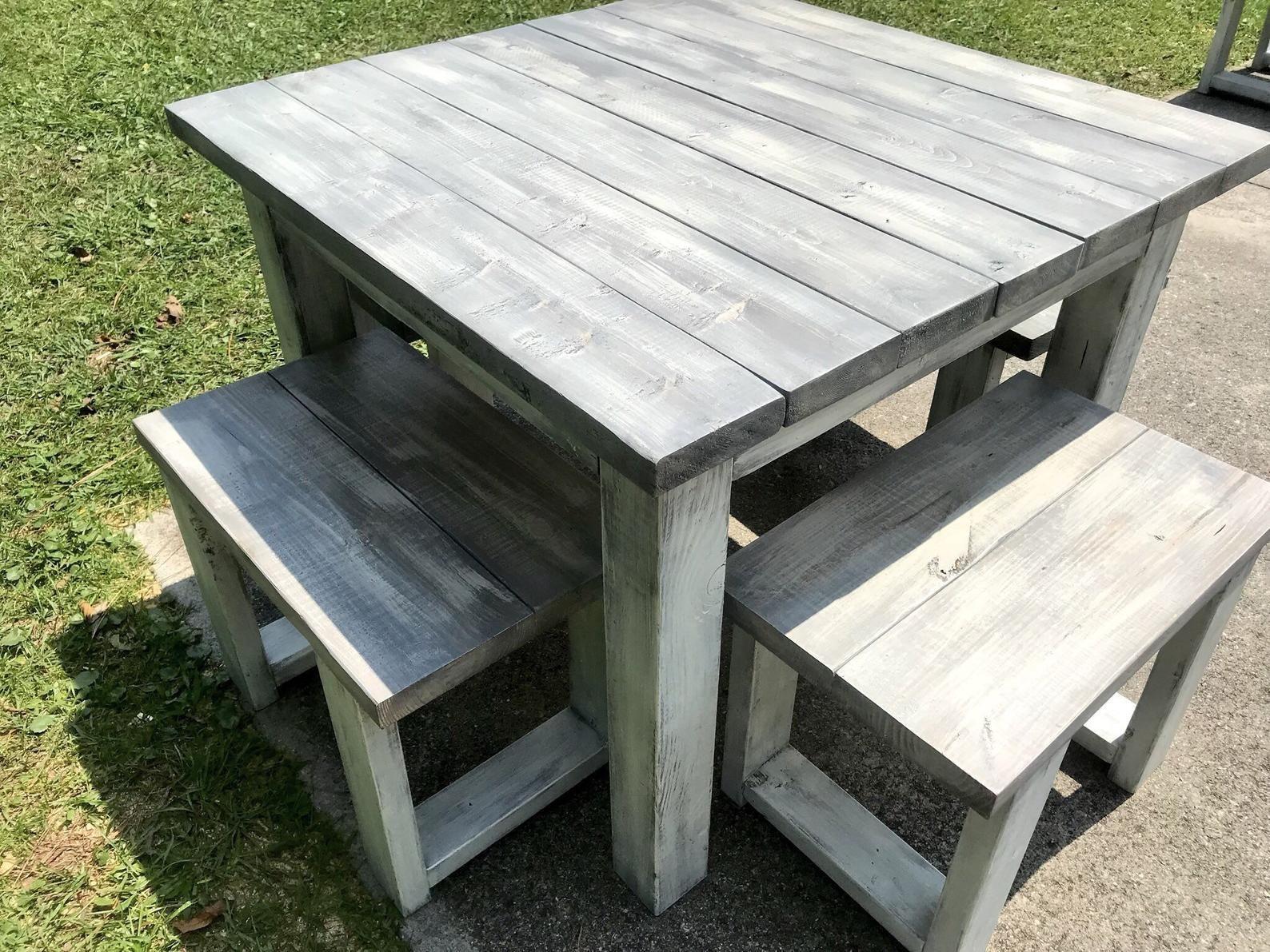 Square Farmhouse Table, Rustic Farmhouse Table, Dining Set