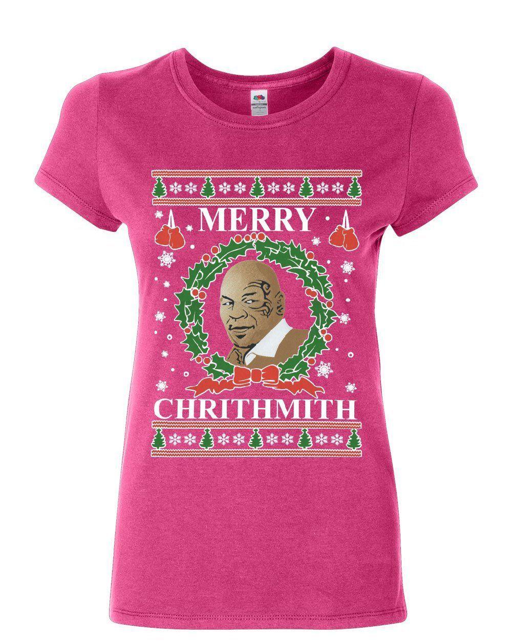Merry Chrithmith Tyson Parody V-Neck T-Shirt Xmas Mike Boxer Ugly Tee