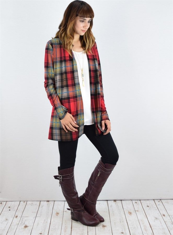 Plaid Pocket Cardigan with Suede Elbow Patch