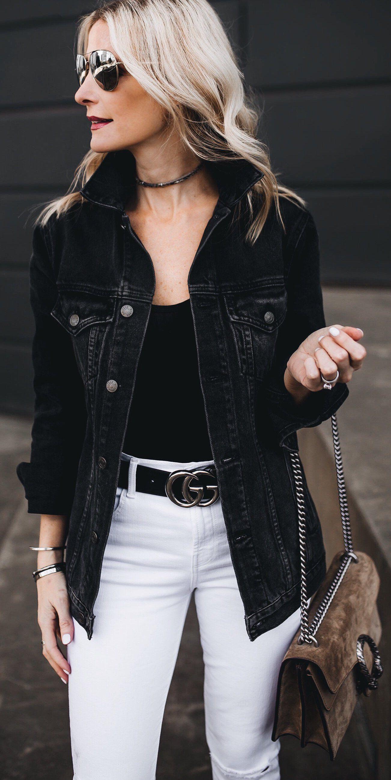 Black Denim Jacket White Denim Black Top Brown Suede Shoulder Bag Fashion Spring Outfits Spring Denim Jacket [ 2596 x 1302 Pixel ]