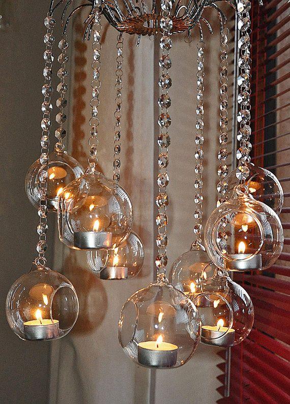 3 x Crystal Octagon garland Glass bubble candle holder terrarium suncatcher feng shui rainbows
