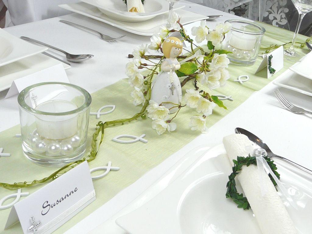 Bildergebnis Fur Tischdekoration Kommunion Weiss Grun Rosa Perrine