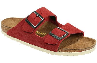 Birkenstock Arizona Barn Red w Cream Sole Suede This icon among slip-on cork  sandals needs no introduction! Still the favorite after all these years and  ... 4b578cd59