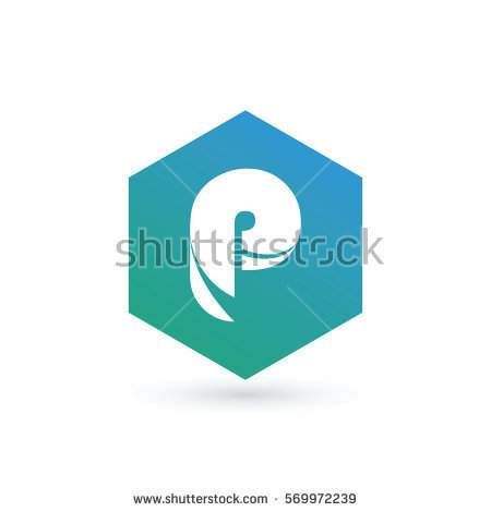 initial letter p creative geometric logo typography design for brand and company identity. gradient green and blue color