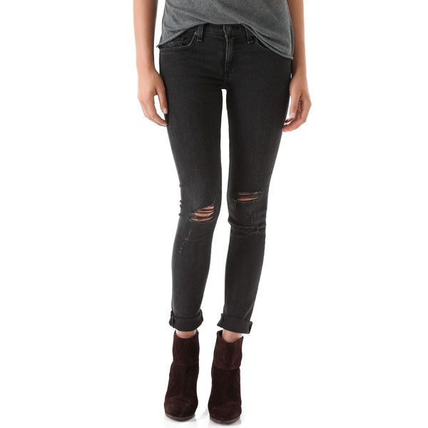 Rag & Bone/JEAN The Skinny Jeans ($220) ❤ liked on Polyvore featuring jeans, pants, bottoms, skinny jeans, ripped jeans, rock with holes, destroyed denim skinny jeans, torn skinny jeans, zipper jeans and distressing jeans