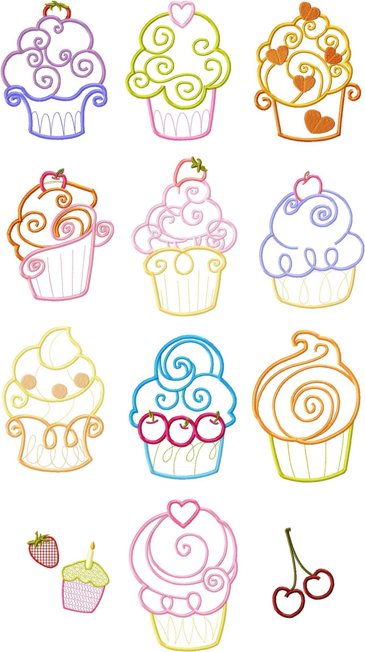 4x4 Set Cupcake Cup Cake Applique Machine Embroidery Designs Machine Embroidery Designs Applique Embroidery Designs Machine Embroidery