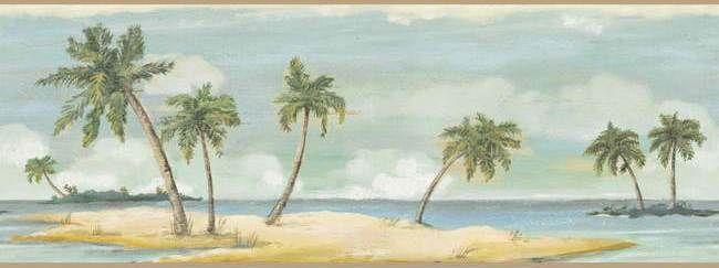 Interior Place Brown Palm Tree Wallpaper Border, 29.99
