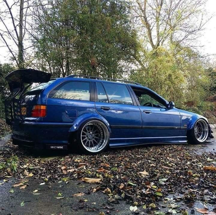 BMW E36 3 series Touring blue deep dish widebody slammed ...
