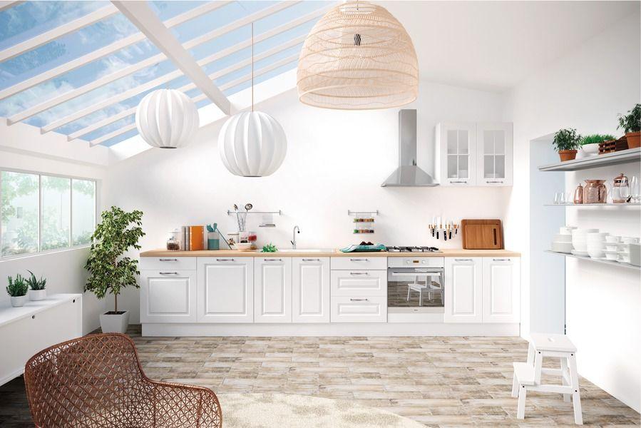 Portes Blanches Plan De Travail Bois Clair Cuisine Brico Depot Meuble Bas Meuble Cuisine