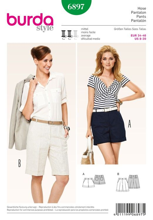 Misses Shorts Burda Sewing Pattern No. 6897. Size 8-20. | Sewing ...