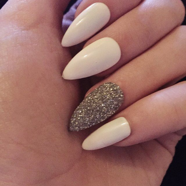 Stilleto Nail Ideas For Prom: White Stiletto Nails With ...