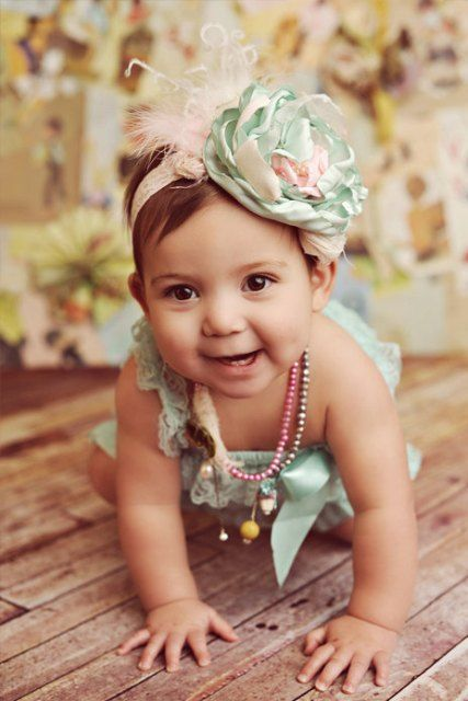 Parfait pastel vintage shabby chic flower headband from The Girly Baby