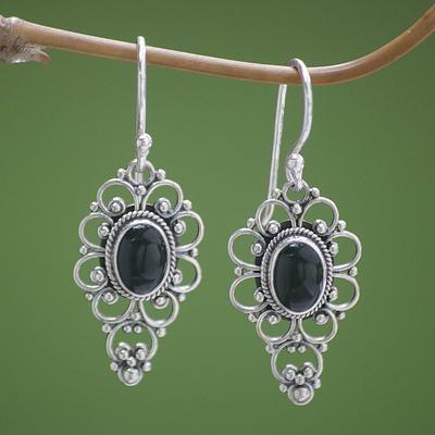 7e0e1af6c Onyx dangle earrings, 'Precious Night' - Floral Onyx Sterling Silver Dangle  Earrings