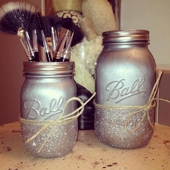 decorative metallic silver and glitter mason jars | desk