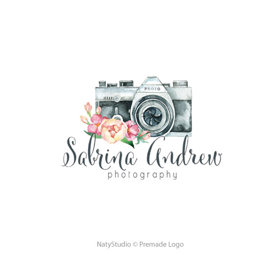 Camera Logo Watercolor Logo Floral Logo Custom Logo Design Premade