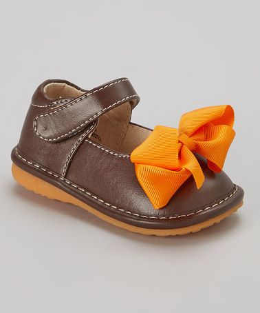 a2b732ccf4 This Brown   Orange Add-a-Bow Squeaker Mary Jane is perfect!  zulilyfinds