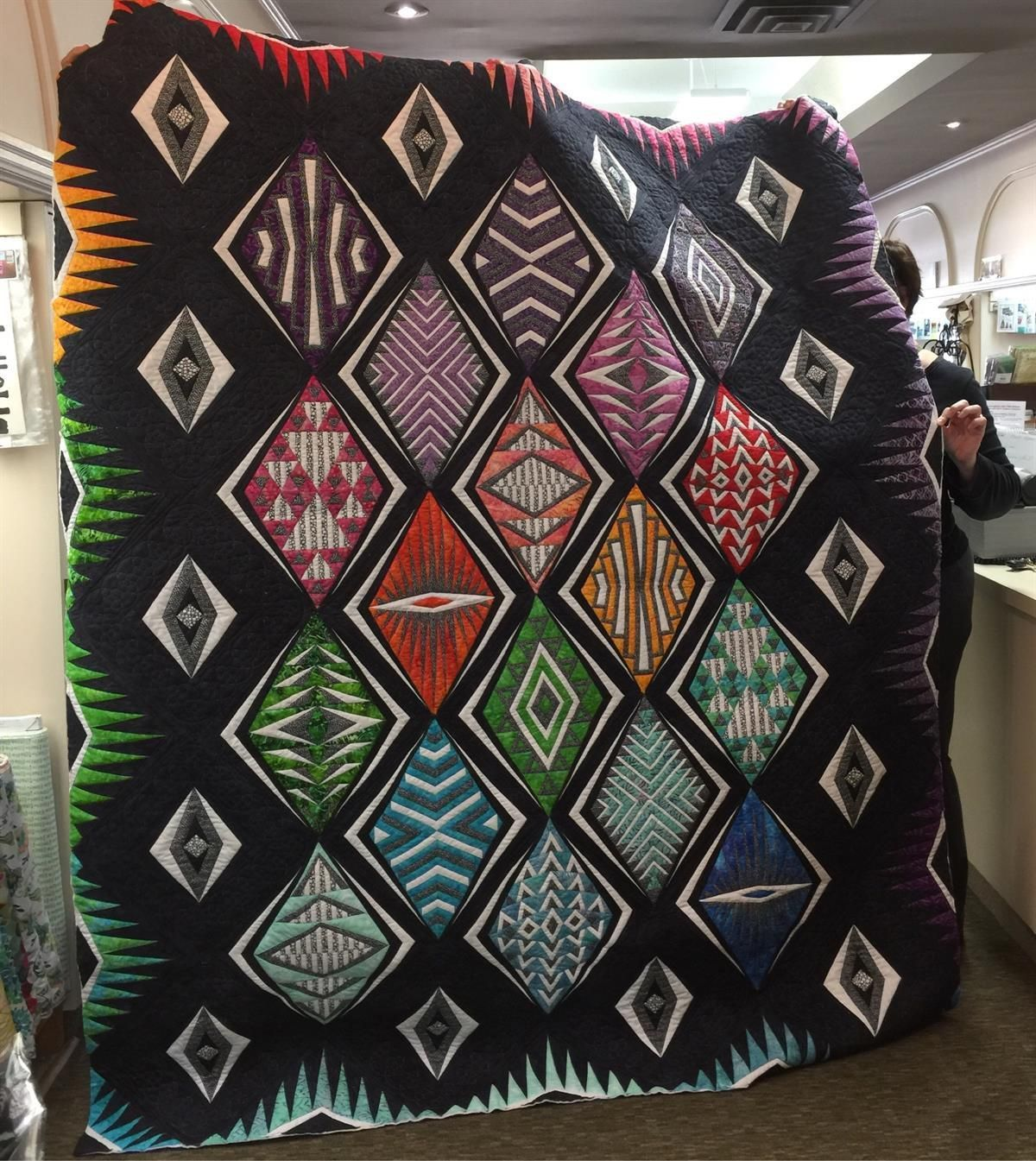 Fabulous Paper Pieced Quilt for Intermediate & Experienced Paper Piecers Contact Cherished Pieces if you are interested in the Class 519.842.2658 Sample Shown quilted by Karen Calver Currently in our Shop Window