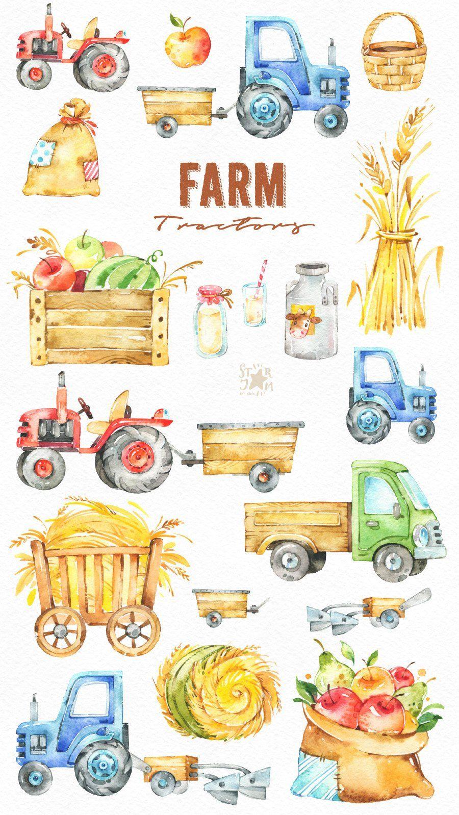Farm Tractors Watercolor Clipart Fruits Household Harvest