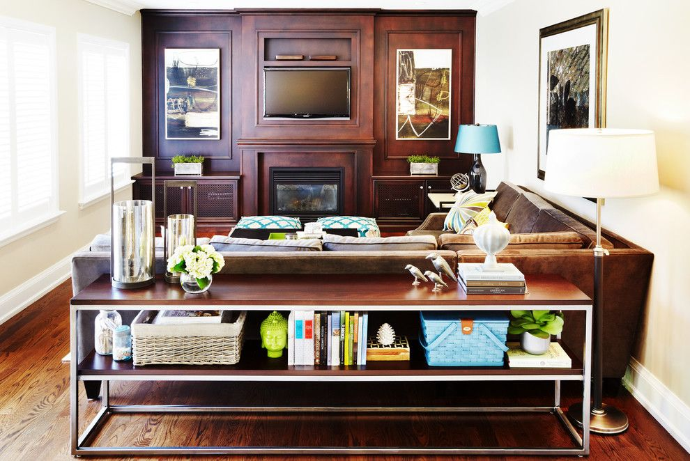 Cool reclining loveseat in Family Room Contemporary with Table - contemporary tables for living