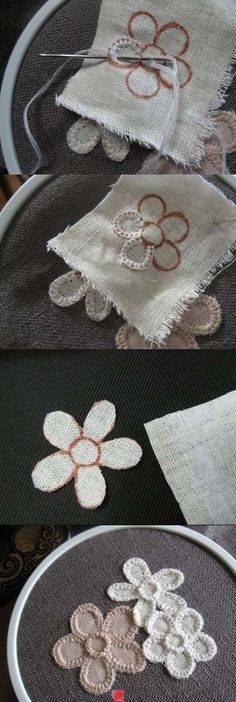 for spring embroidered daisy embellishments or coasters cute simple craft for clothes or decor. Black Bedroom Furniture Sets. Home Design Ideas