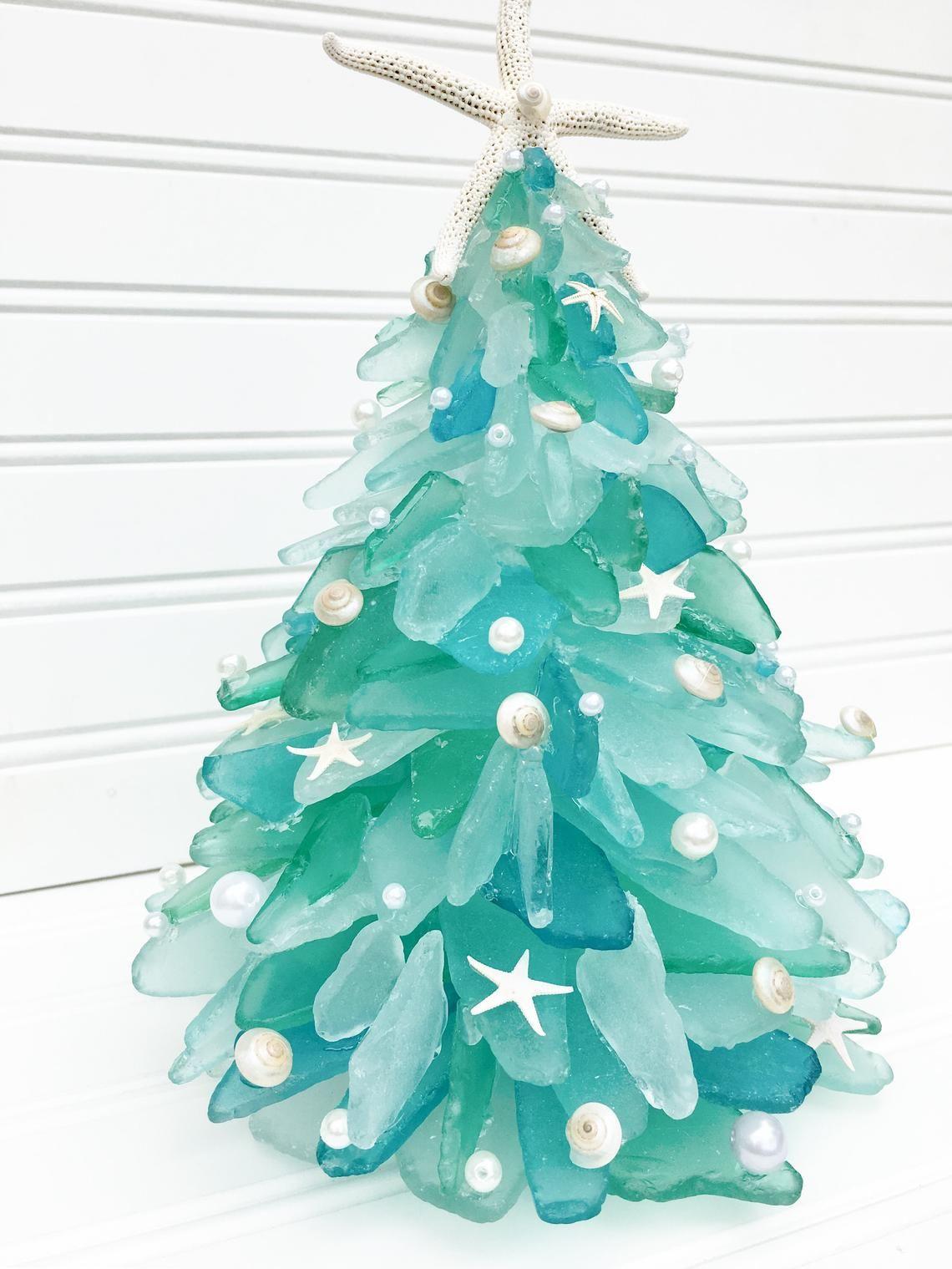 BEACH GLASS SEA GLASS CHRISTMAS TREE ORNAMENT SEA GLASS ART NAUTICAL DECOR
