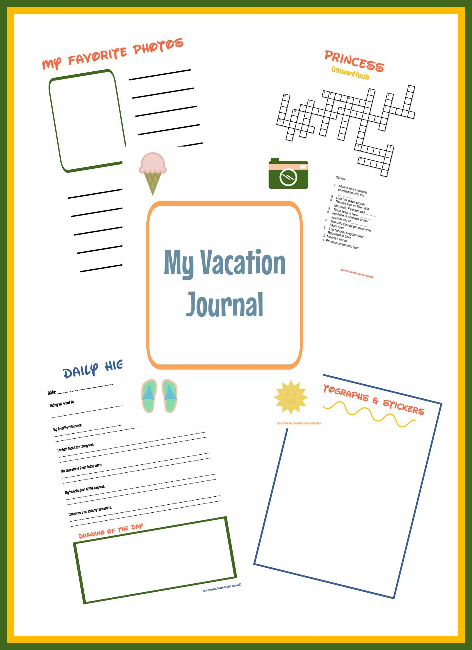 printable theme park vacation journal for kids