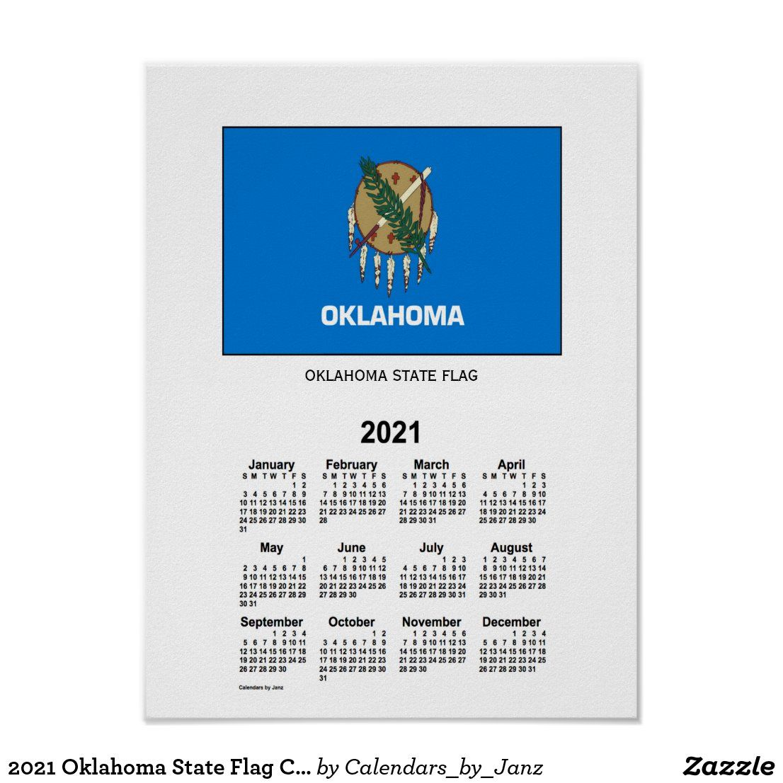 Okstate Calendar 2021 2021 Oklahoma State Flag Calendar by Janz Poster | Zazzle.in