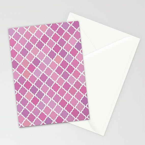Pink Purple Moroccan Pattern Stationary, Pink Purple Abstract - purple note cards