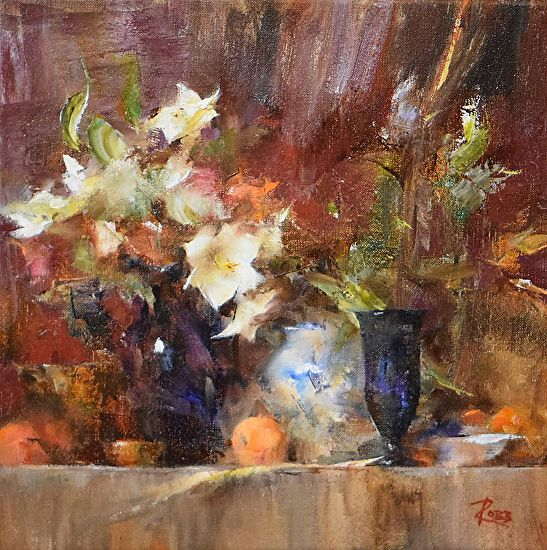 Shelf With White Lilies By Laura Robb Oil 11 X