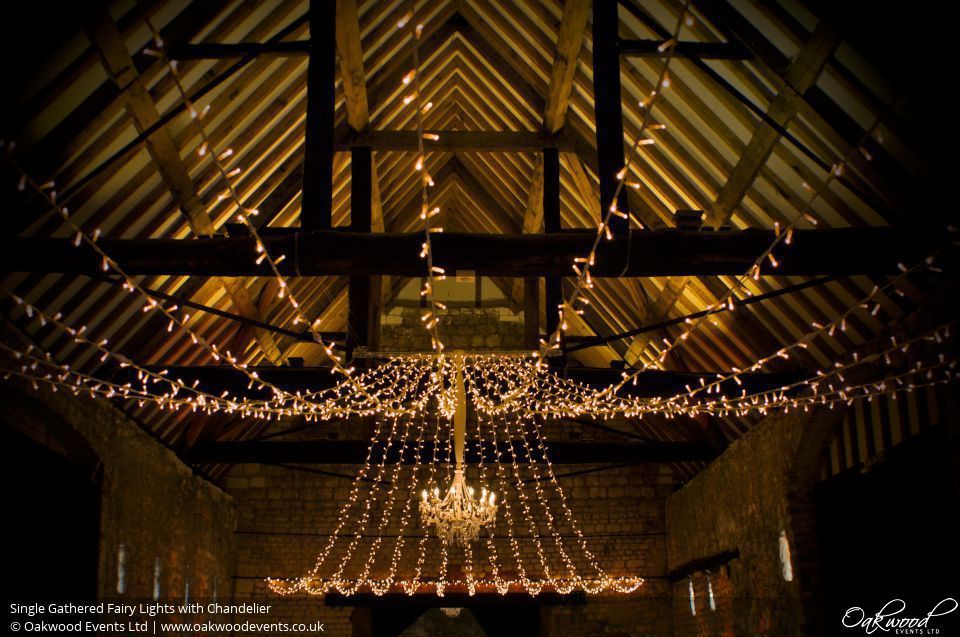 Fairy light hire for weddings parties and events. Includes fairy light ceiling canopies swags and pillar lighting. & Single Gathered Fairy Lights with Chandelier. Lighting by Oakwood ...