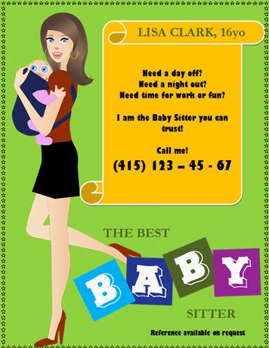 Free Babysitting Flyers, Templates, Ideas And Samples. Sample Text