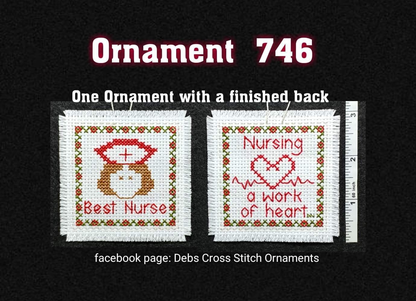 Best Nurse Ever cross stitch ornament