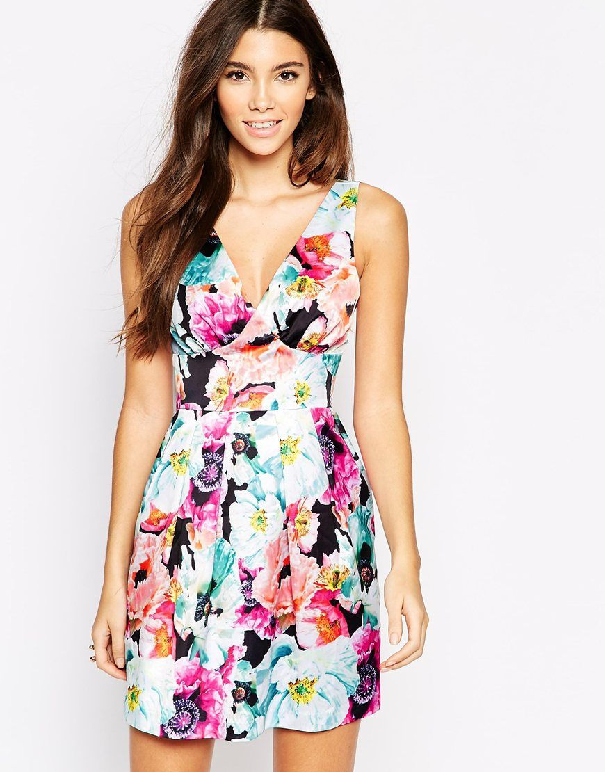 Image of wolf u whistle mini prom dress in overscale floral print