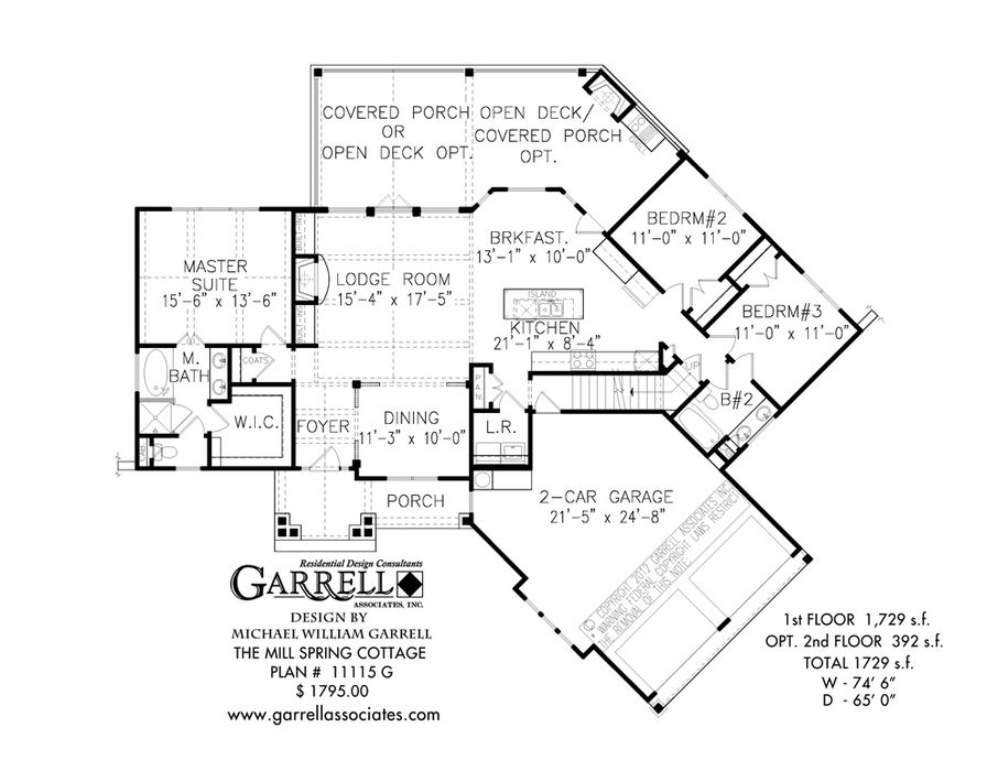 mill spring cottage house plan 11115g 1st floor plan rustic mountain and lake house - Lake House Plans