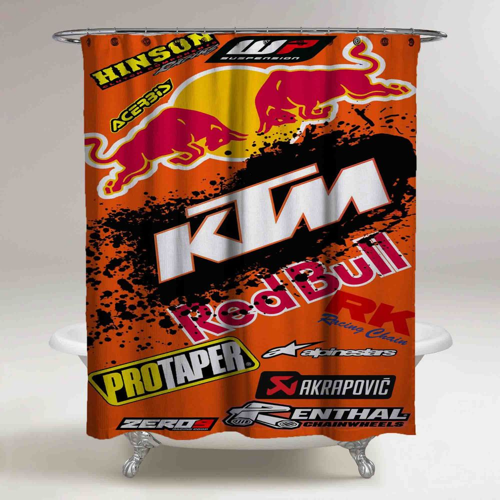 New KTM Red Bull Custom Design Shower Curtain High Quality 60x72 Unbranded