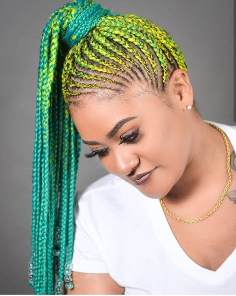Latest Ghana Weaving Shuku Styles 2019 Latest Ghana Weaving Hairstyles Cornrow Ponytail Styles Feed In Braids Ponytail