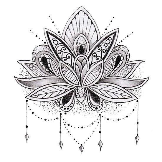 Buddhist Lotus Flower Tattoo Design Photo 2 Lotus Flower Mandala Tattoos Black Tattoos
