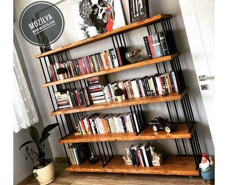 Solid Wood Decorative Bookcase Hasir Natural Wood And Etsy In 2020 Bookcase Decor Decor Metal Bookcase