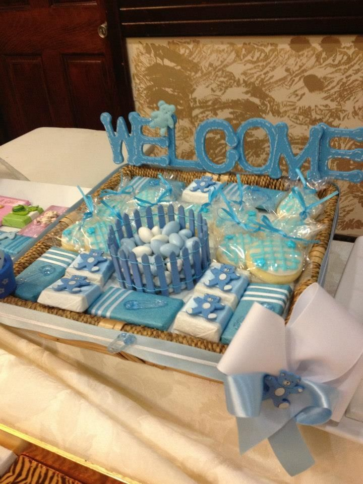 Baby Tray Decoration Welcome baby boy This is a chocolate tray arrangement with 2