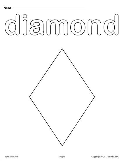 Free Printable Diamond Coloring Page Shape Coloring Pages Shapes Preschool Shapes Lessons