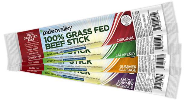Paleovalley 100 Grass Fed Beef Sticks 30 Off Beef Sticks Grass Fed Beef Cookbook Recipes