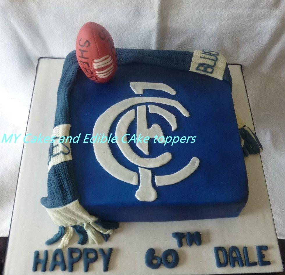 Carlton Football Cake With Scarf And Football Mycakes Custom Made