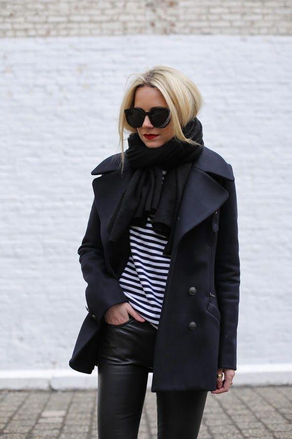 premium selection 166e3 13c78 leather pants + sneakers + short wool coat + striped T + black scarf +  celine bag