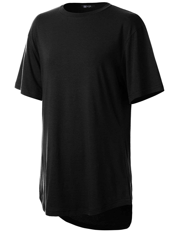 Womens Comfortable Short Sleeve Elong Longline Tri-Blend Modal Cotton Crewneck T-Shirt - Dct080-blac...