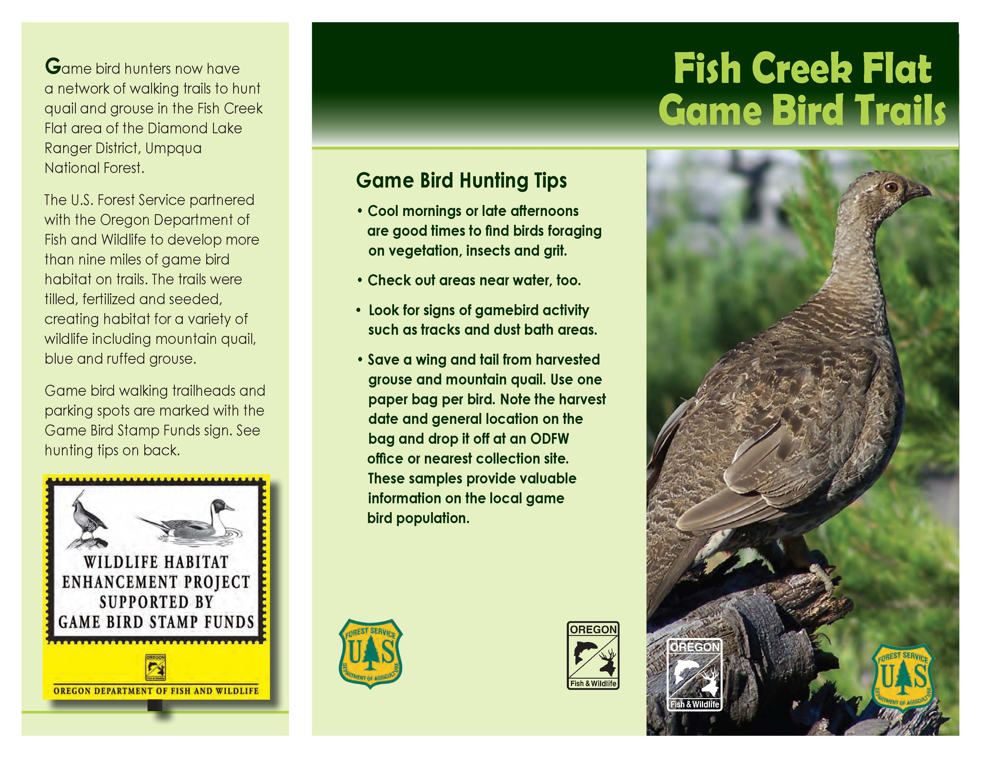 Fish Creek Flat game bird trails, by the Oregon Department