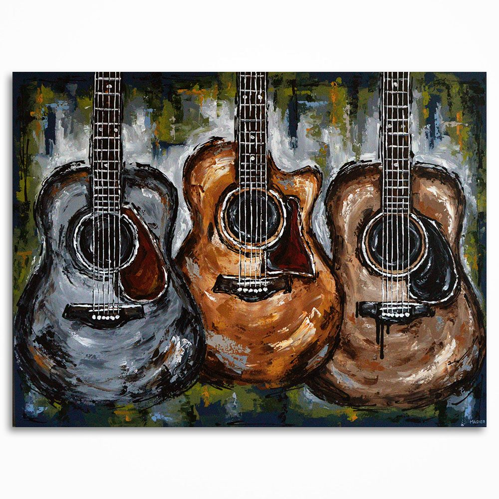 Acoustic guitar painting on canvas by Magda Magier