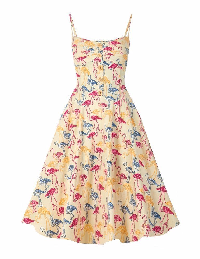 Collectif fairy flamingo print swing dress