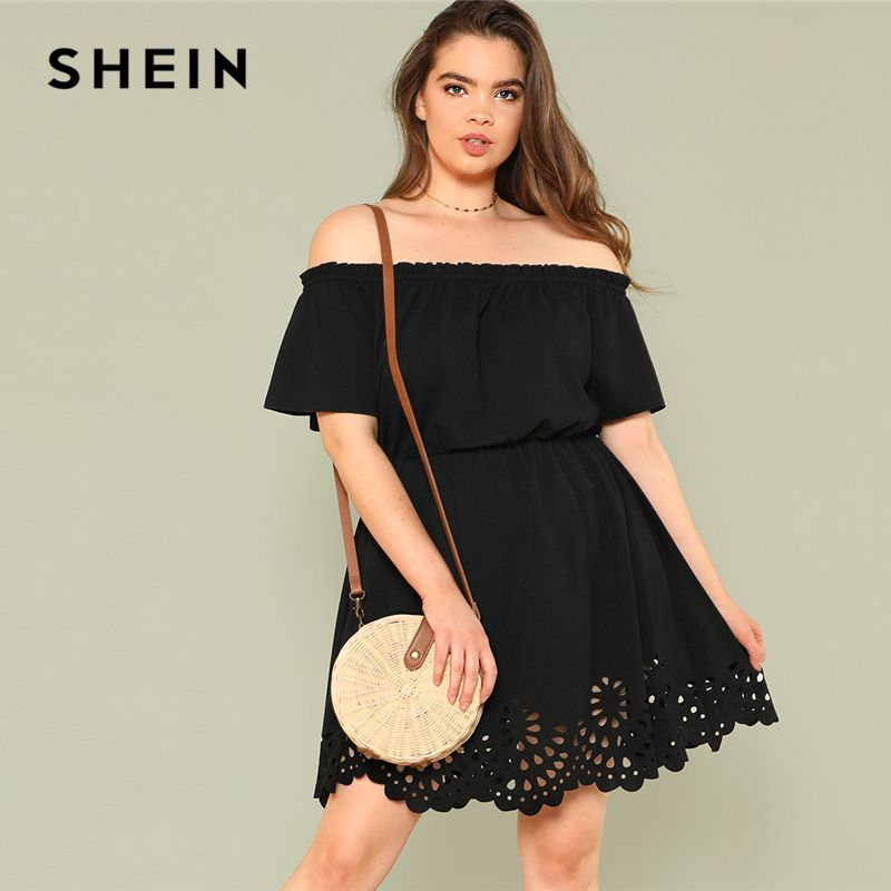 659ead99db Find More Dresses Information about SHEIN Solid Ruffle Off the Shoulder  Plus Size Scalloped Hem Elegant Women Dress 2018 Summer Short Sleeve Casual  Bardot ...