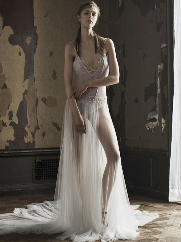 Vera wang shows her new line of sexy wedding dresses in a for Wedding dress see through