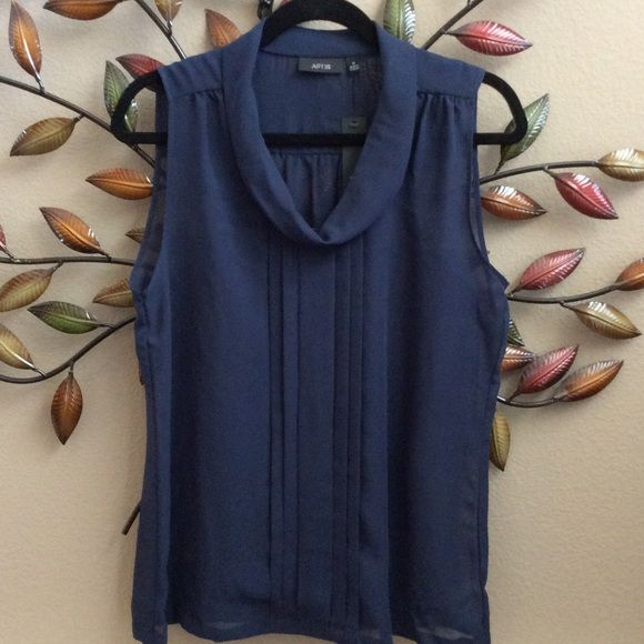 Brand New Navy Blue Blouse by Apt. 9 Navy blue, comes with a attached tank top, scoop neck, pleated front. Apt. 9 Tops Blouses